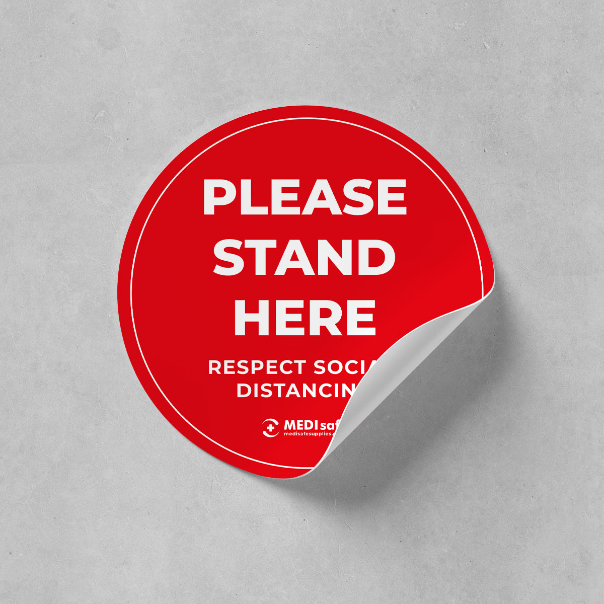 Please stand here respect social distancing covid 19