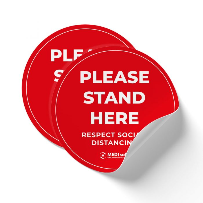 Please stand here social distancing floor stickers 25cm