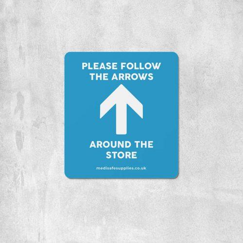 Please Follow The Arrows Floor Stickers (Rectangular) | Social Distancing blue