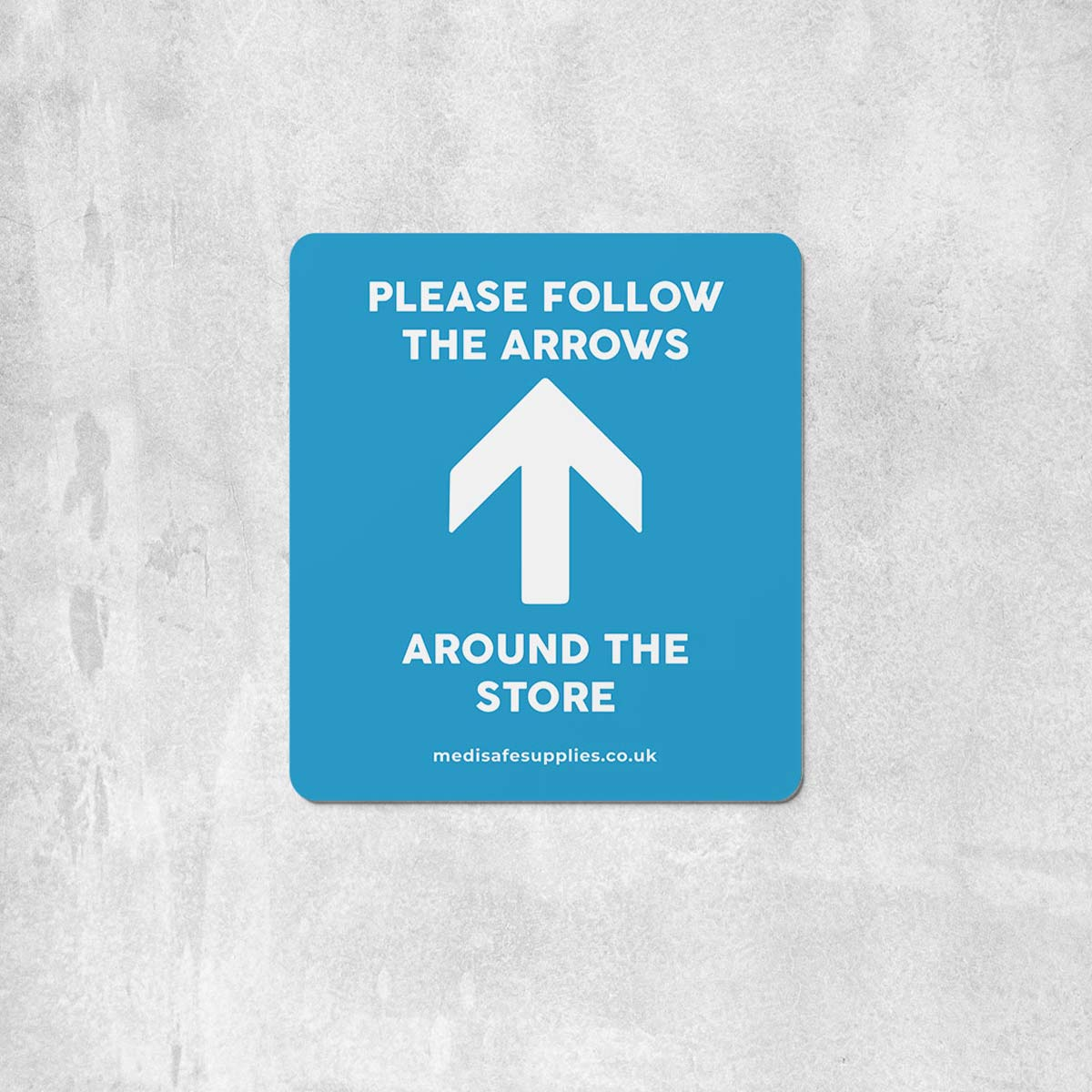 Please Follow The Arrows Floor Stickers (Rectangular)   Social Distancing blue