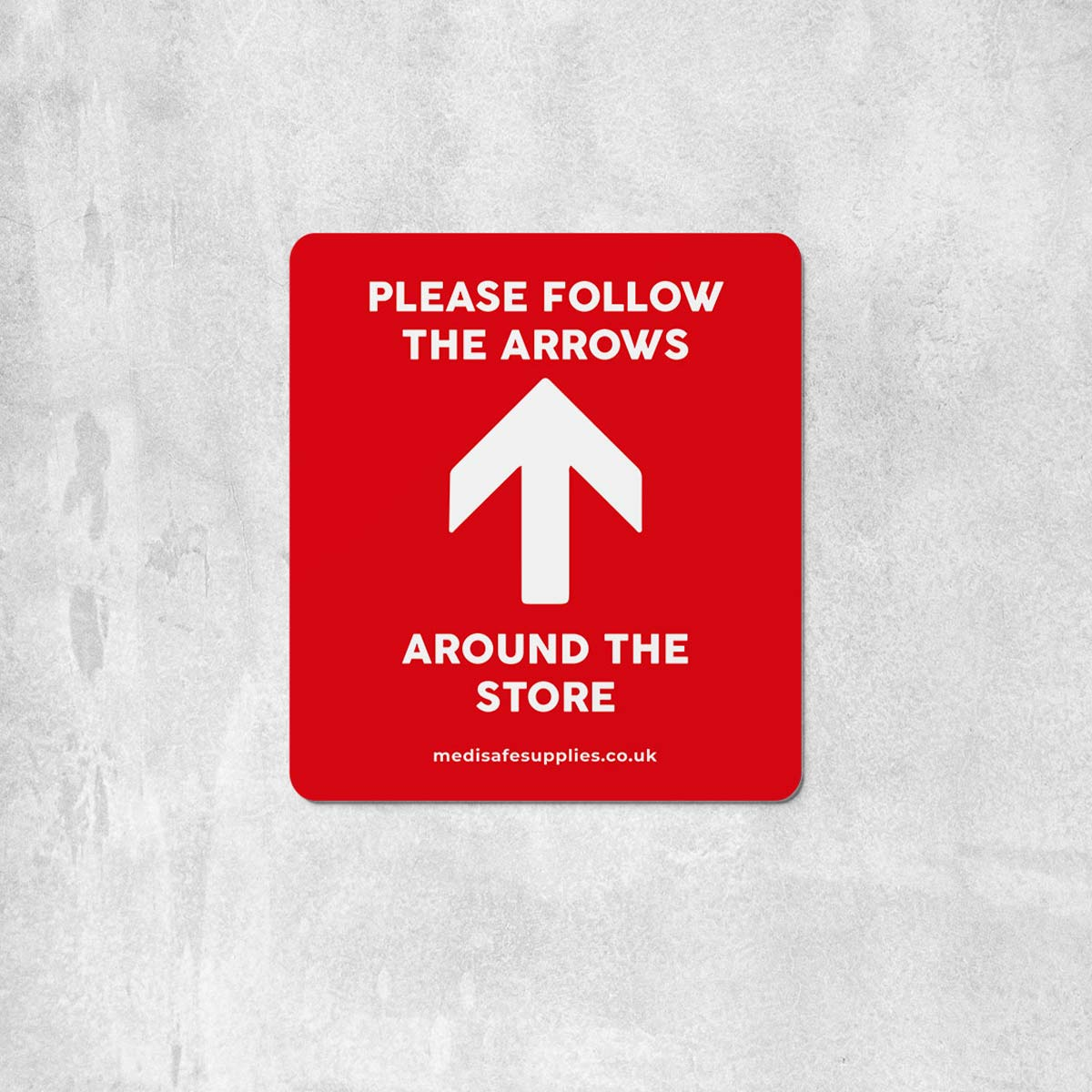 Please Follow The Arrows Floor Stickers (Rectangular)   Social Distancing red