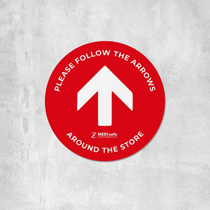 Please Follow The Arrows Floor Stickers (Circular) | Social Distancing red