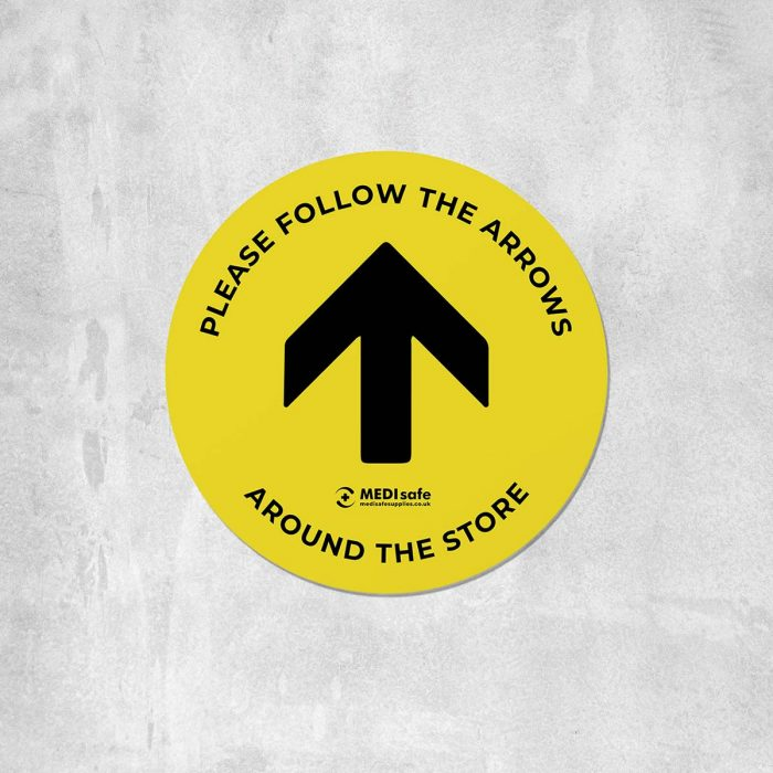 Please Follow The Arrows Floor Stickers (Circular) | Social Distancing yellow