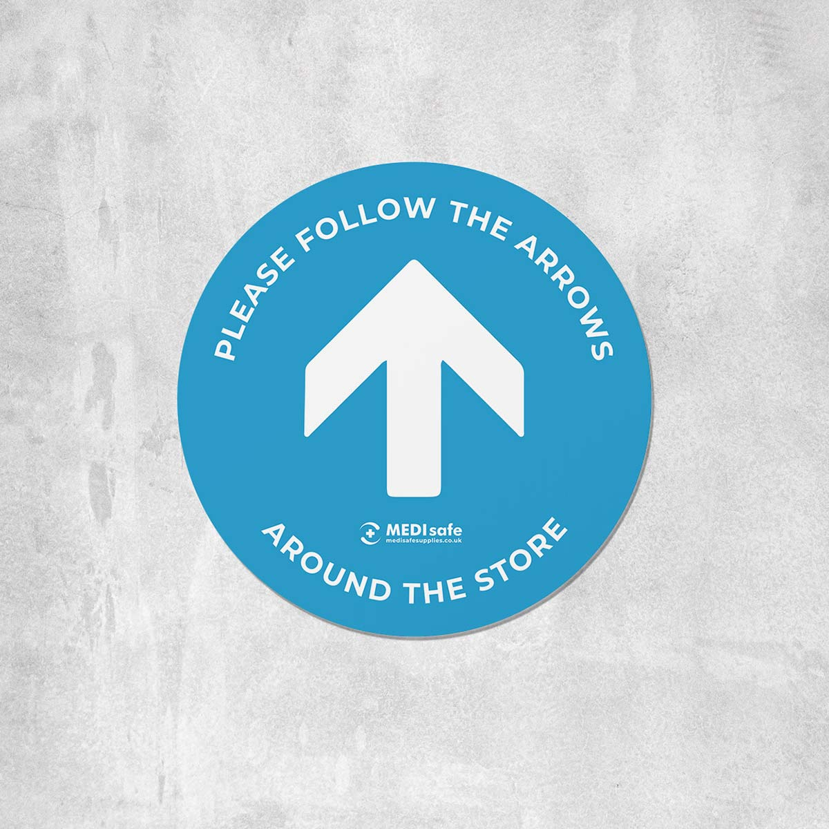 Please Follow The Arrows Floor Stickers (Circular) | Social Distancing blue