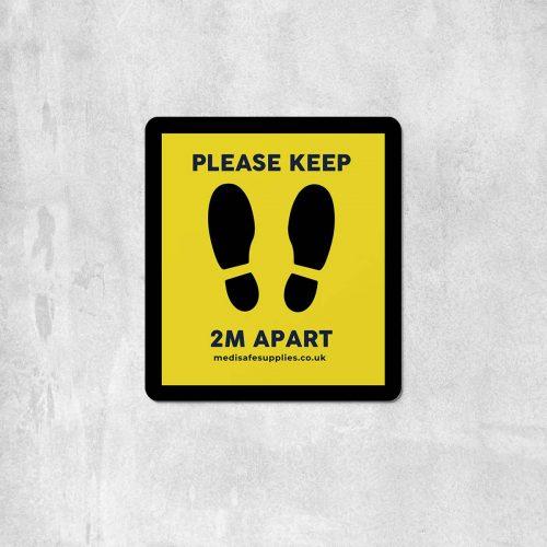 Footprint Floor Stickers (Please Keep 2m Apart) Social Distancing Stickers