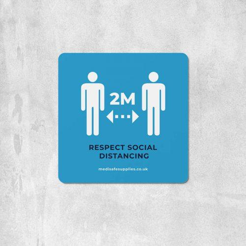 2m Floor Stickers (Please Keep 2M Apart) Social Distancing blue