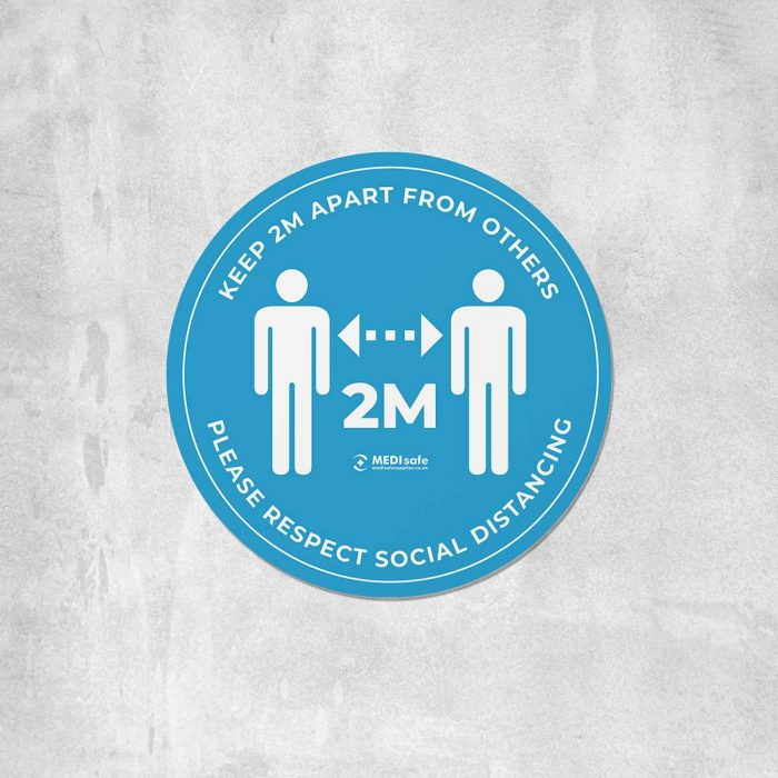 keep 2m apart floor stickers for social distancing blue