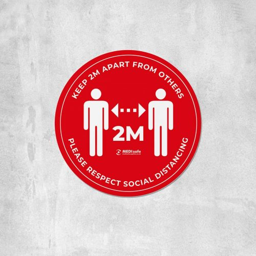 keep 2m apart floor stickers for social distancing red