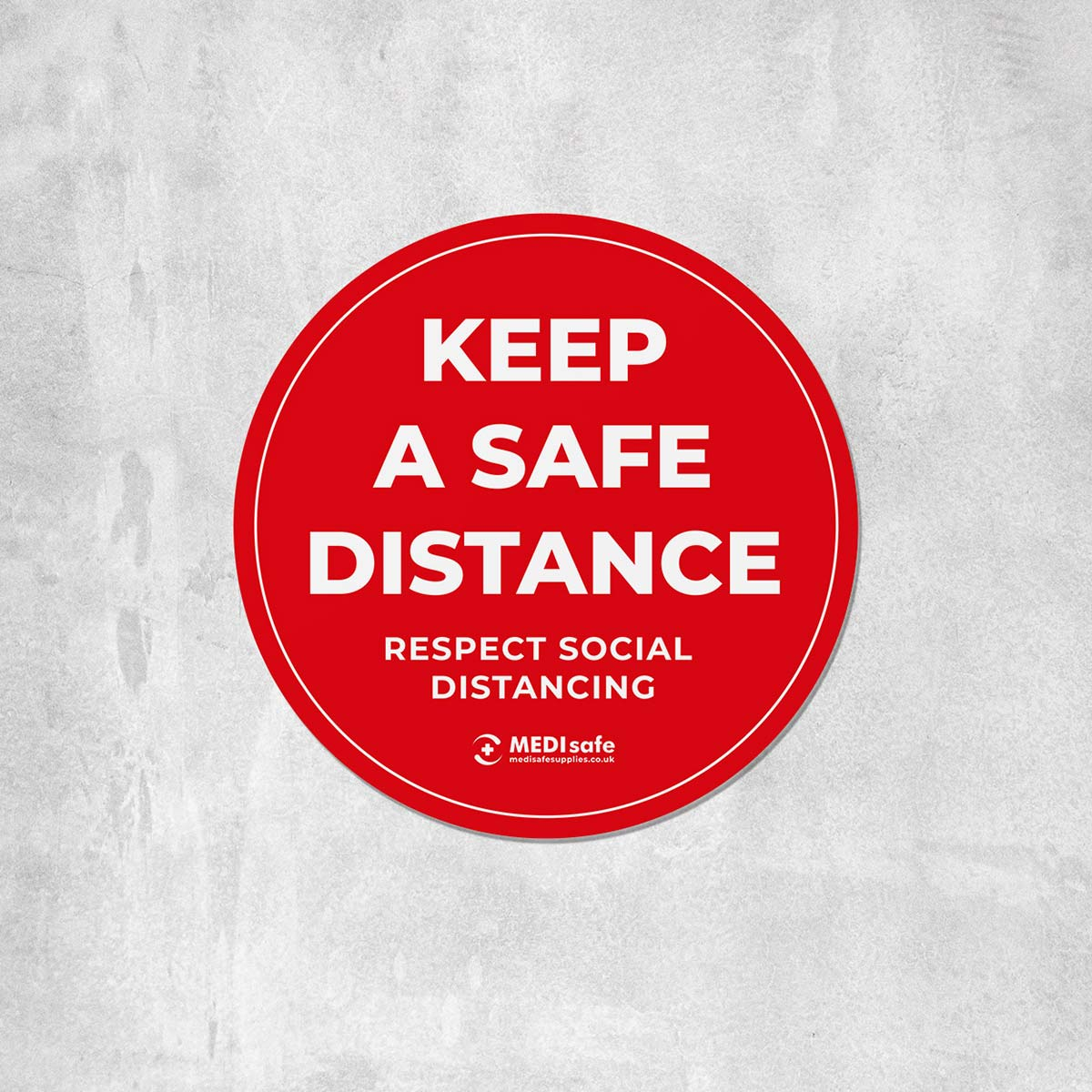Keep a safe distance floor sticker for social distancing - red