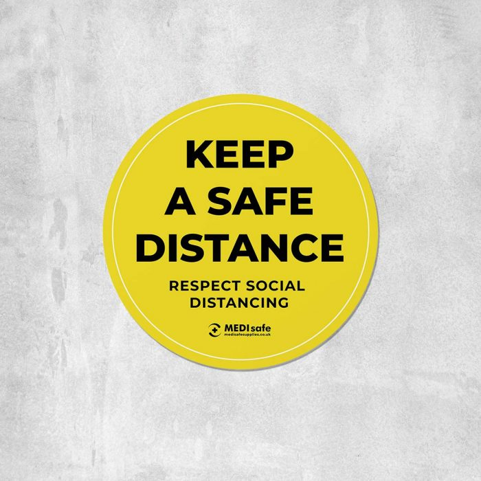 Keep a safe distance floor sticker for social distancing - yellow