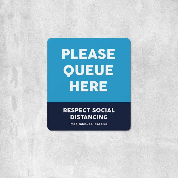 Please Queue Here Floor Stickers - Social Distancing Floor Stickers Blue