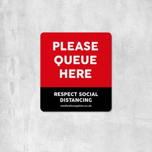 Please Queue Here Floor Stickers - Social Distancing Floor Stickers Red
