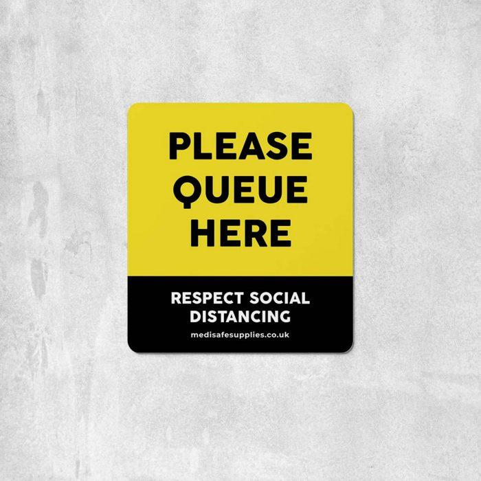 Please Queue Here Floor Stickers - Social Distancing Floor Stickers Yellow