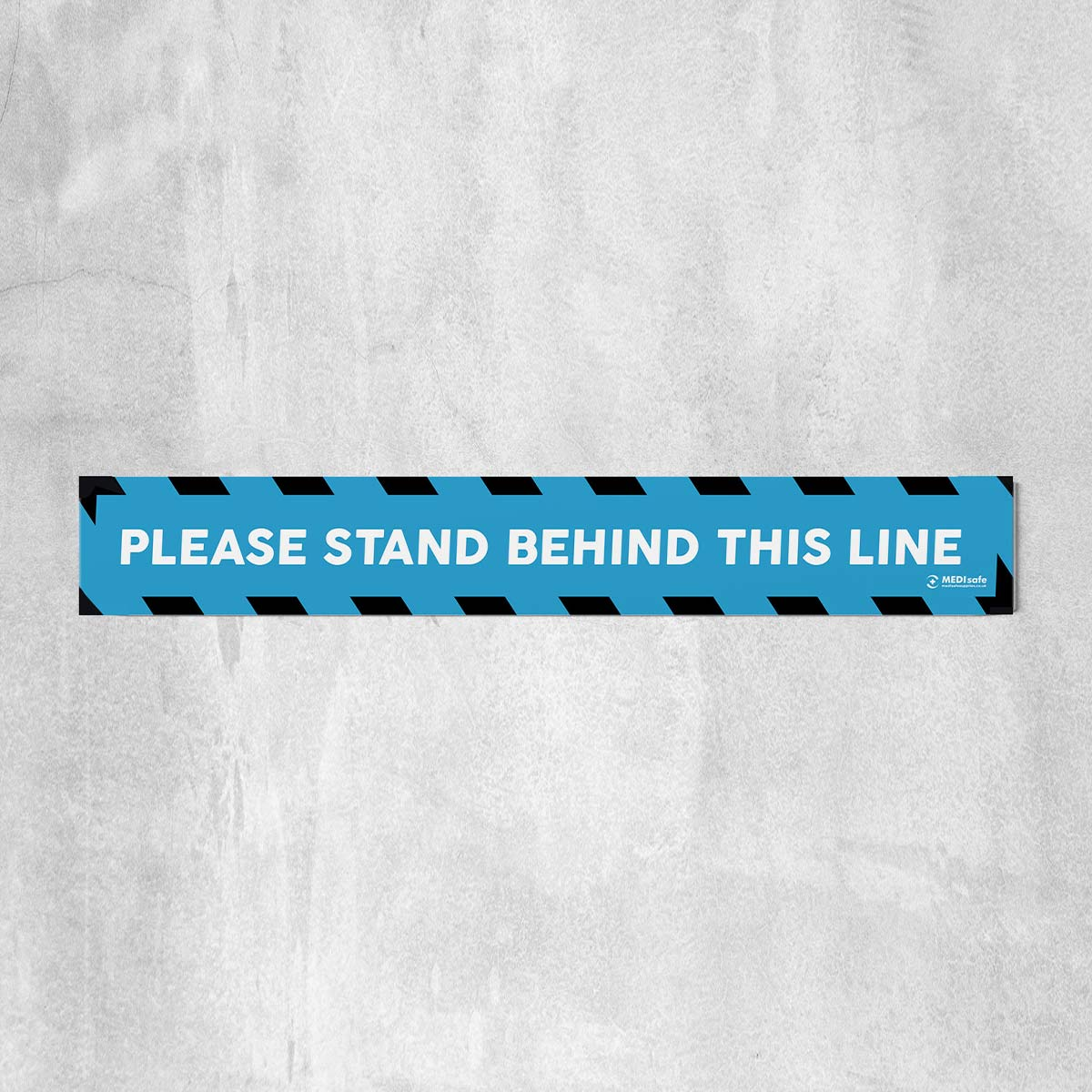 Please Stand Behind This Line Floor Stickers blue