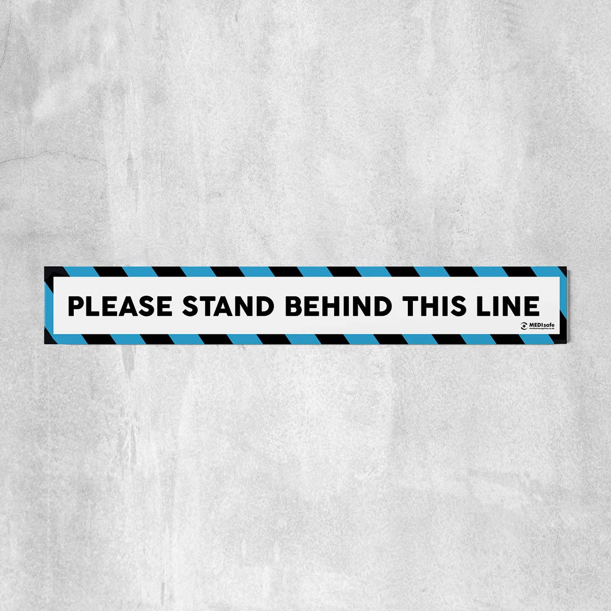 Please Stand Behind This Line Floor Stickers blue white