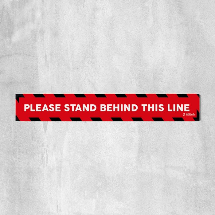 Please Stand Behind This Line Floor Stickers red