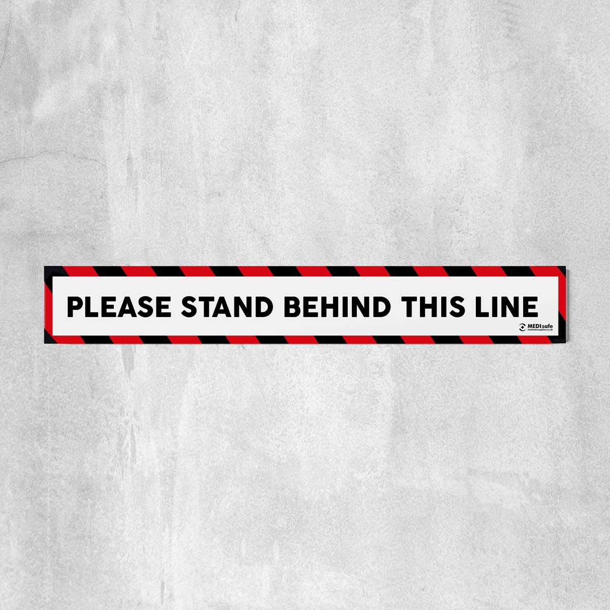 Please Stand Behind This Line Floor Stickers red white