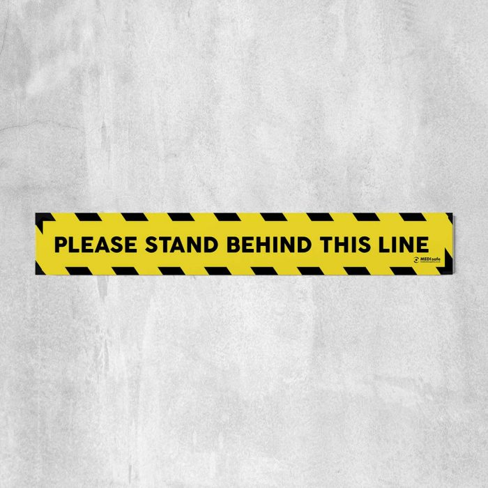 Please Stand Behind This Line Floor Stickers Yellow