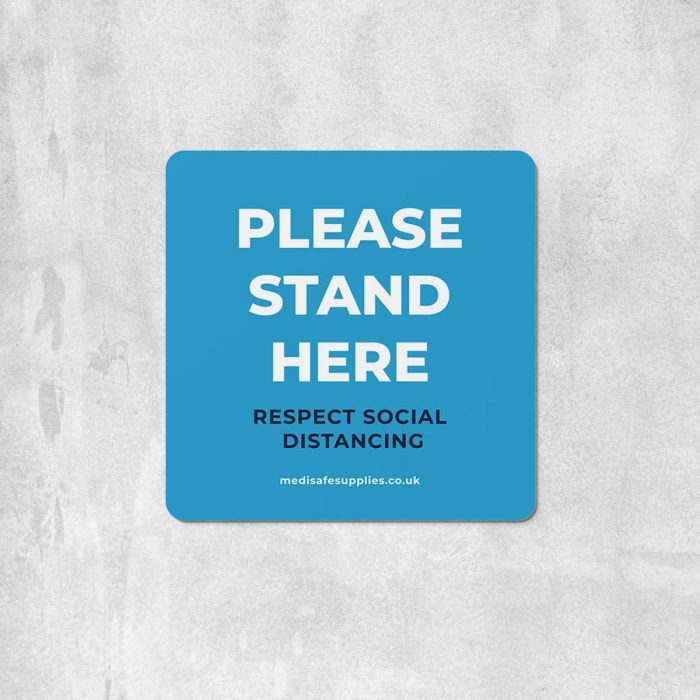 please stand here Floor Stickers blue social distancing floor stickers