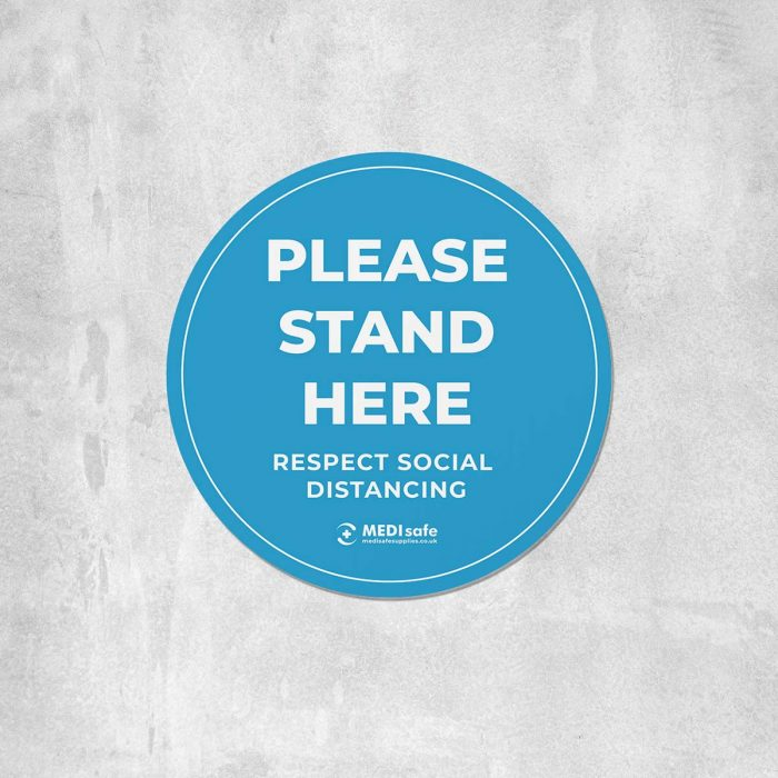 Please stand here Floor Stickers for social distancing blue