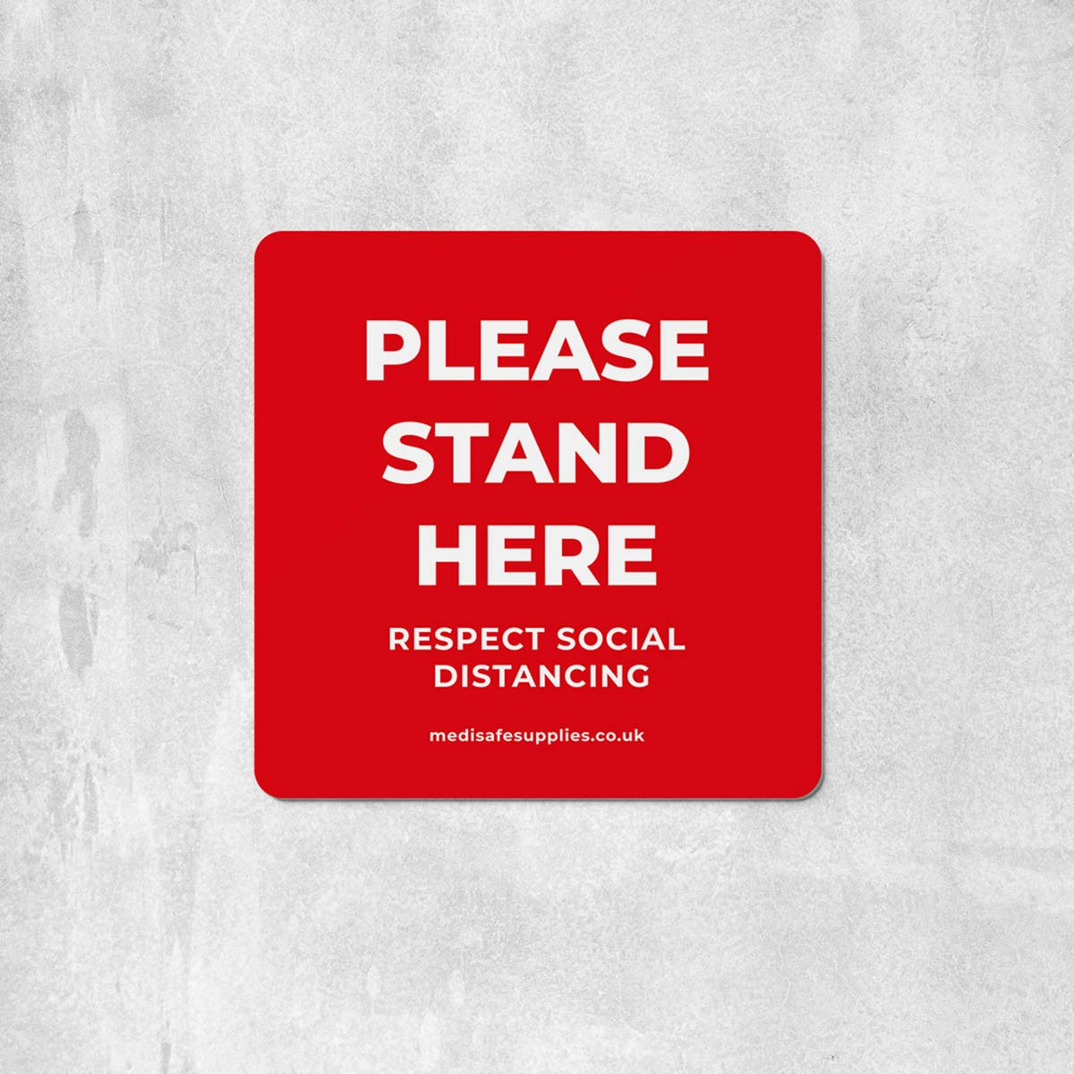 please stand here Floor Stickers red social distancing floor stickers