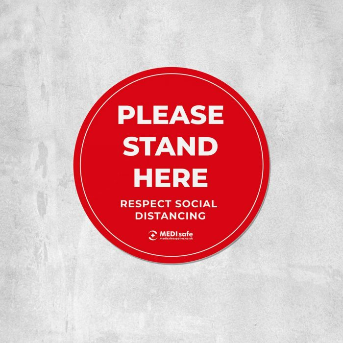 Please stand here Floor Stickers for social distancing red