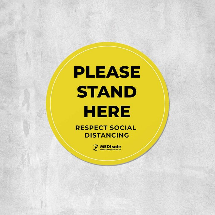 Please stand here Floor Stickers for social distancing yellow