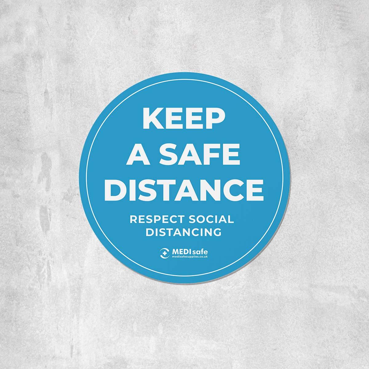 Keep a safe distance floor sticker for social distancing - blue