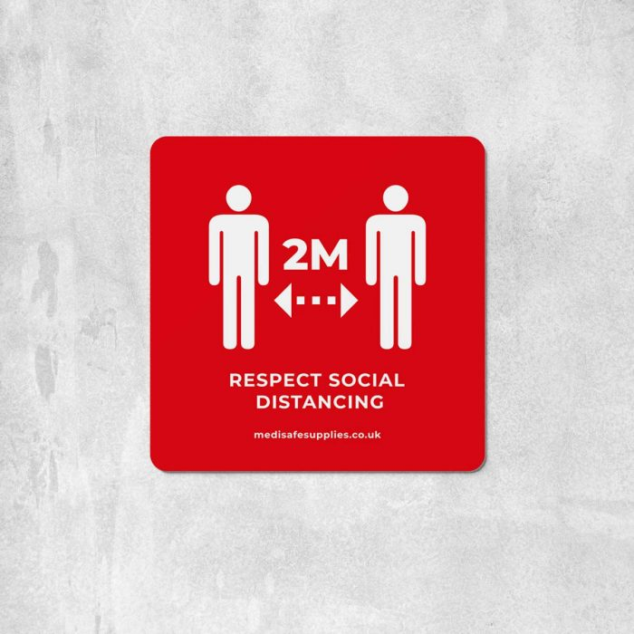 2m Floor Stickers (Please Keep 2M Apart) Social Distancing red