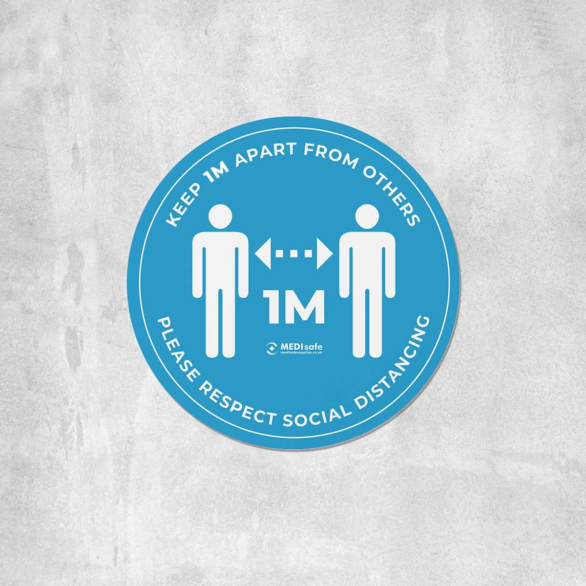 keep 1m apart social distancing floor stickers blue