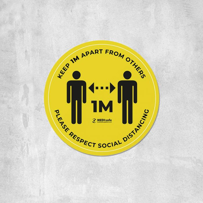 keep 1m apart social distancing floor stickers yellow