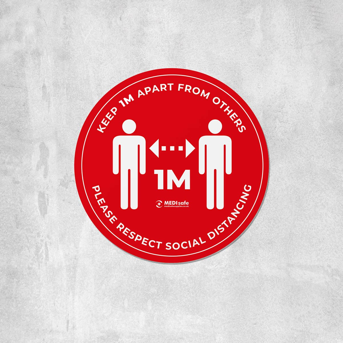keep 1m apart social distancing floor stickers red
