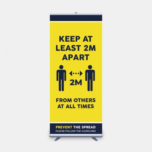keep 2m apart roll up banner