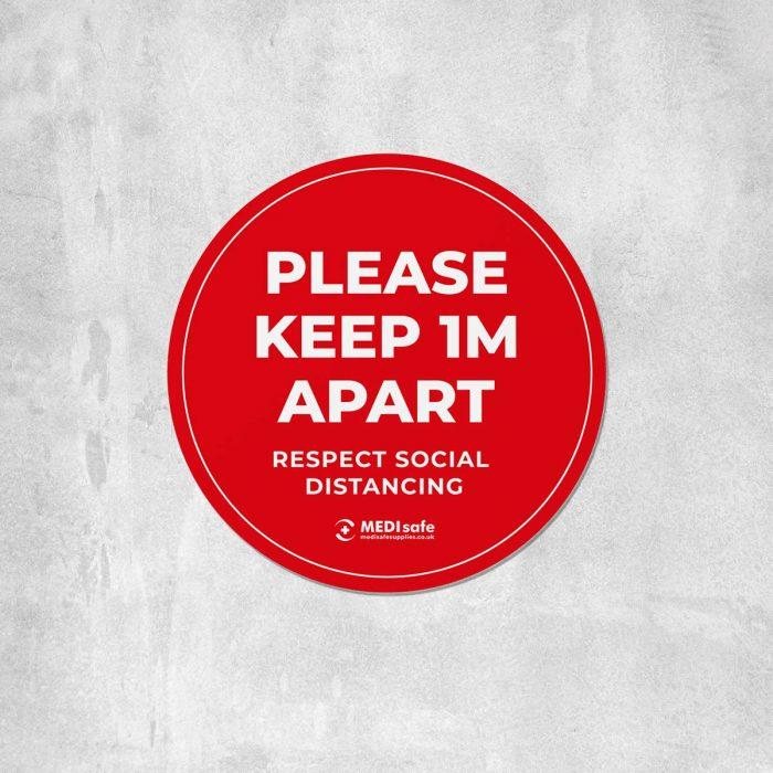 Please keep 1m apart Floor Stickers red