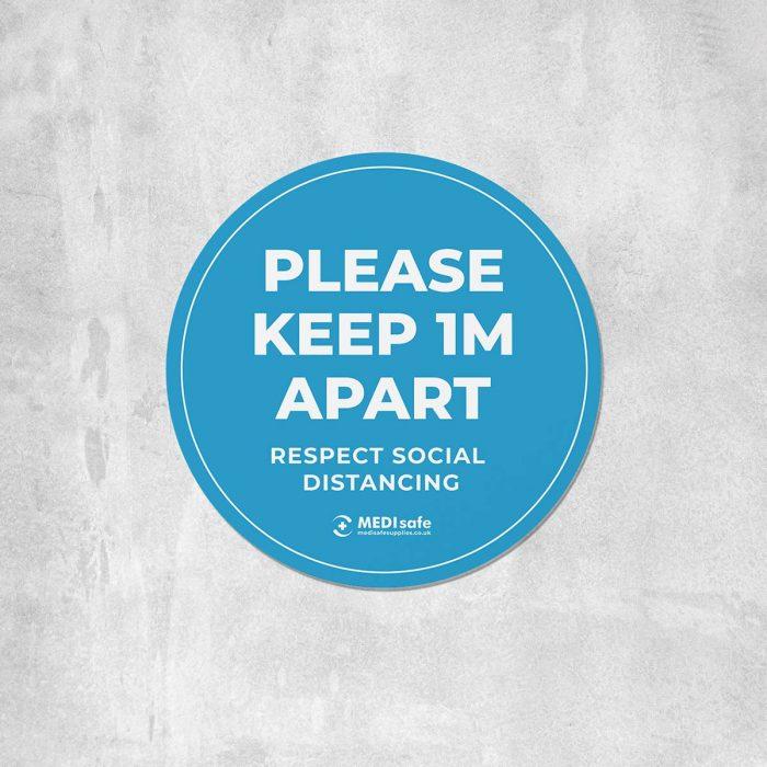Please keep 1m apart Floor Stickers blue